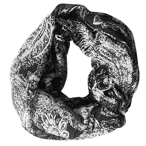 Peach Couture Black Polyester Sunflower Printed Infinity Loop Scarf