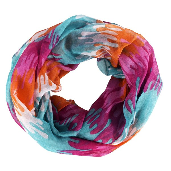 Peach Couture Multicolored Polyester Abstract Artsy Paint Splatter Infinity Loop/Scarf/Wrap