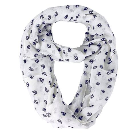 Peach Couture Anchor Print Infinity Loop Scarf