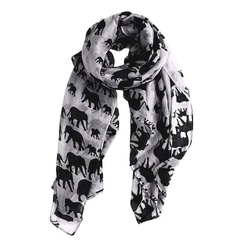 Peach Couture Polyester Animal Print Elephant Scarf