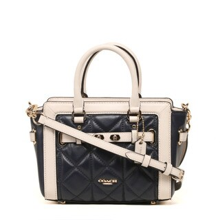 Coach Quilted Leather Midnight Chalk Color-block Mini Blake Carryall