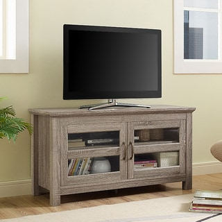 44-inch Wood TV Stand with Doors - Driftwood