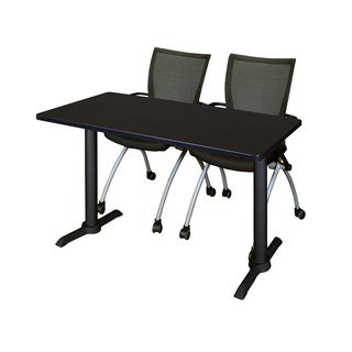 Cain 42-inch x 24-inch Training Table With 2 Black Apprentice Chairs