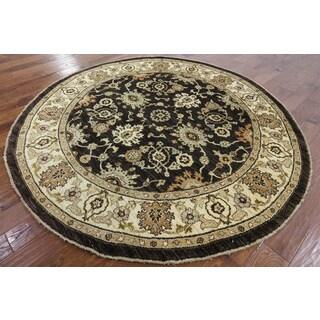 Hand-Knotted Oriental Peshawar Brown Wool Rug (7'1 x 7'2)