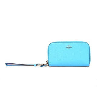 Coach Pebbled Leather Azure Double Accordion Zip Clutch