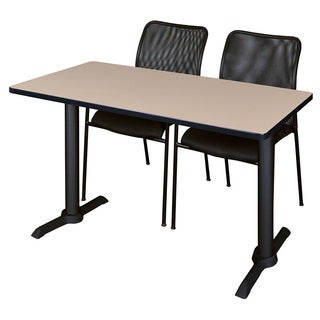 Cain 42-inch x 24-inch Training Table and 2 Black Mario Stack Chairs