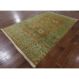 Hand-Knotted Oriental Peshawar Orange Wool Rug (6'1 x 8'10)