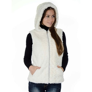 Women's Fashion Medium Length Faux Fur Jacquard Zip-up Winter Hooded Vest