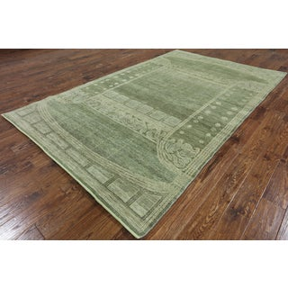 Hand-Knotted Oriental Gabbeh Green Wool Rug (6'1 x 9'9)