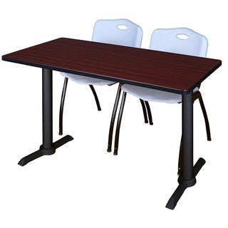 Cain 42-inch x 24-inch Training Table with 2 Grey M-stack Chairs