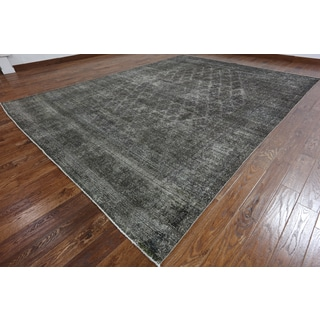 Hand-Knotted Oriental Overdyed Grey Wool Rug (9'7 x 12'10)