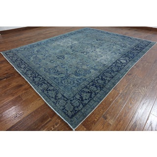 Hand-Knotted Oriental Overdyed Blue Wool Rug (8'9 x 10'10)