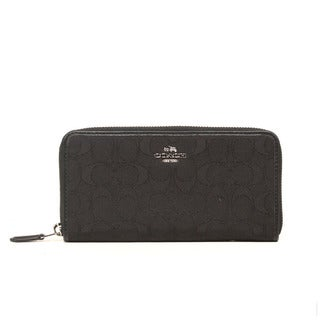 Coach Outline Signature SV Black Accordion Zip Clutch