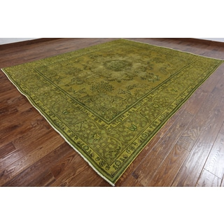 Hand-Knotted Oriental Overdyed Green Wool Rug (9'6 x 11'0')