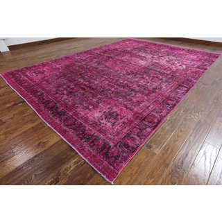 Hand-Knotted Oriental Overdyed Pink Wool Rug (9'1 x 13'0')