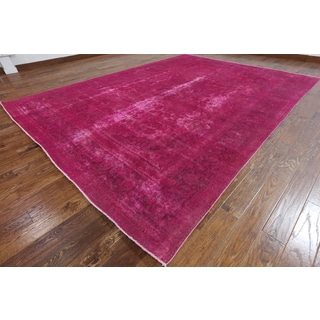 Hand-Knotted Oriental Overdyed Pink Wool Rug (9'4 x 12'5)