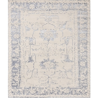 Pasargad's Silk Fusion Collection Beige Bamboo Silk/Wool Hand-knotted Area Rug (9' x 12')