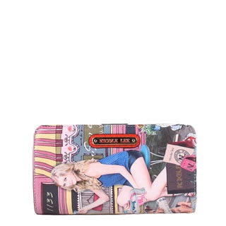 Nicole Lee Cupcake Girl Print Faux Leather/Nylon Magnetic Tab Closure Wallet