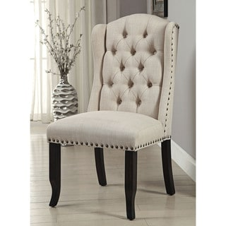 Furniture Of America Telara Linen Like Tufted Wingback Dining Chair Set 2