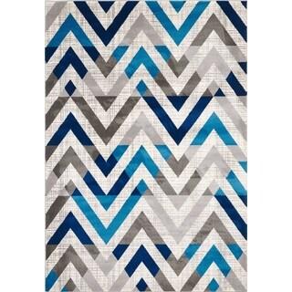 Lucy Blue/Grey/Cream Olefin Area Rug (8' x 11')