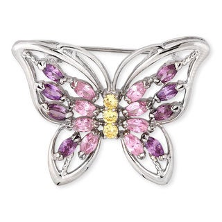 Collette Z Sterling Silver Cubic Zirconia Large Butterfly Pin
