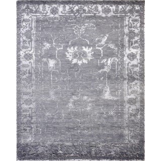 Pasargad's Silk Fusion Collection Grey Hand-knotted Bamboo Silk and Wool Area Rug (4' x 6')