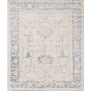 Pasargad's Silk Fusion Collection Hand-knotted Beige Viscose from Bamboo and Wool Area Rug (8' x 10'