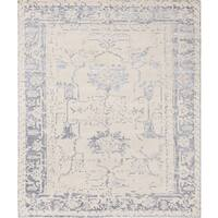 Pasargad's Silk Fusion Collection Hand-knotted Beige Viscose from Bamboo Silk Area Rug (8' x 10'