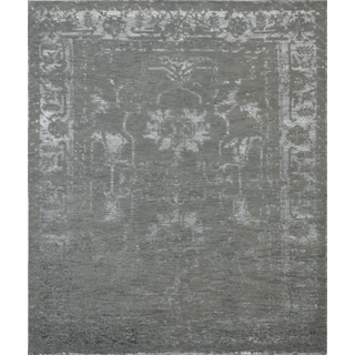 Pasargad's Silk Fusion Collection Hand Knotted Bamboo Silk and Wool Rug (9' X 12')