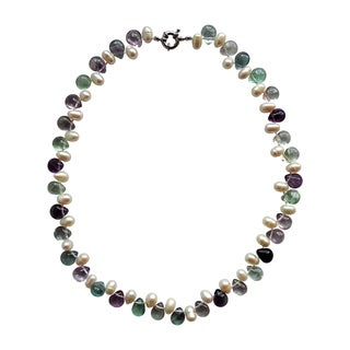 Sterling Silver Pearl and Mixed Gems Necklace