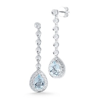 14k White Gold Pear Shape Aquamarine and 3/8ct TDW Diamond Earrings (G-I, VS1-VS2)