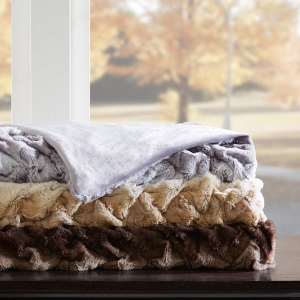 Hampton Hill Lifestyle Ruched Faux Tip Dyed Fur Oversized Throw 3-Color Option