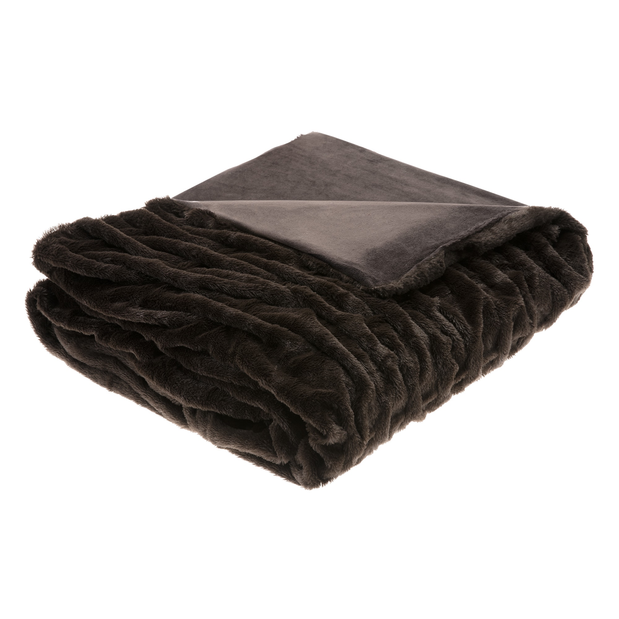 Hampton Hill Lifestyle Ruched Fur Oversized Throw 3 Color...