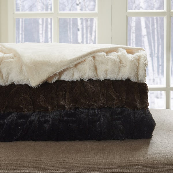 Hampton Hill Lifestyle Ruched Fur Oversized Throw 3 Color Option