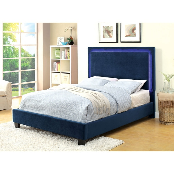 Furniture of America Winona LED Light Trim Navy Flannelette