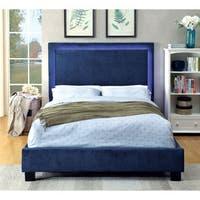 Furniture of America Winona LED Light Trim Navy Flannelette Platform Bed
