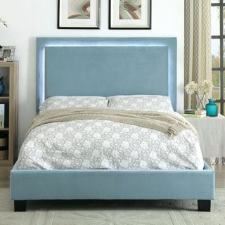 furniture of america winona contemporary led light trim blue flannelette platform bed - Cal King Platform Bed Frame
