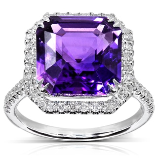Annello 10k White Gold 6 1/10ct TCW Amethyst and Halo Diamond Ring (H-I, I1-I2)