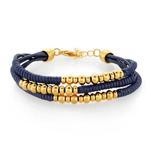 ELYA Gold Plated Triple Strand Stainless Steel Beaded Bracelet