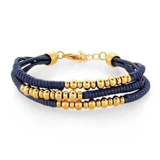 ELYA Gold Plated Triple Strand Stainless Steel Beaded Bracelet