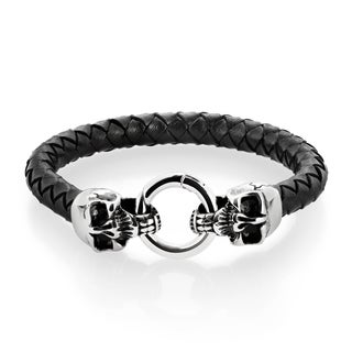 Crucible Men's Stainless Steel Twin Skulls Black Braided Leather Bracelet - 8.5 inches (12mm Wide)