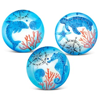 8 Inch Blue Circle Plate Dolphin, Sea Turtle and Sea Horse Glass Décor Set of 3