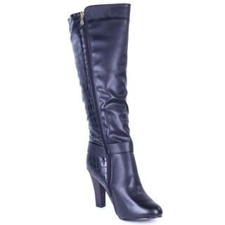 Women's Black faux Leather Snakeskin Mid-rise Fashion Boots