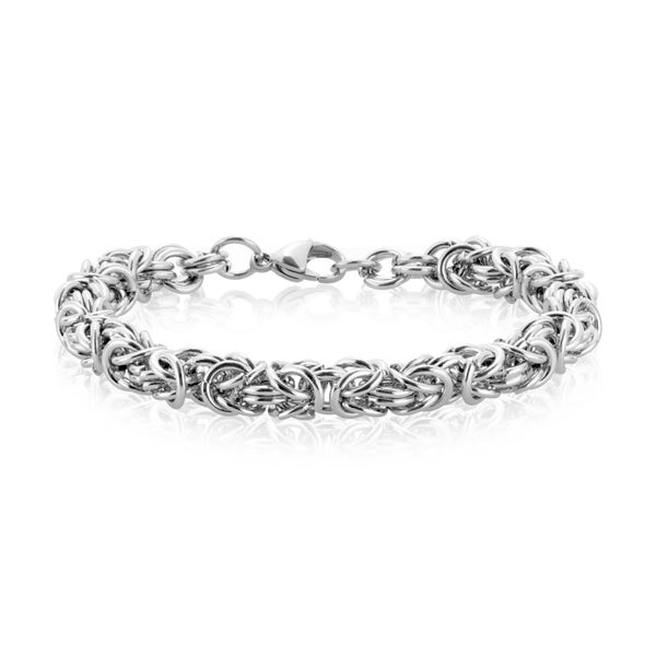 ELYA High Polish Stainless Steel Intricate Byzantine Chain Bracelet - White