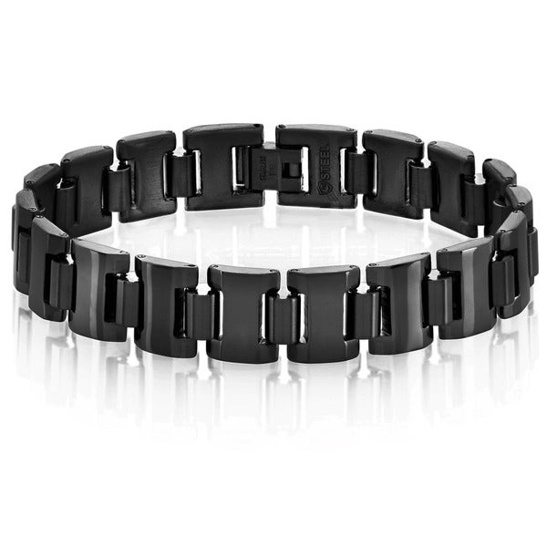 Crucible Men's Black Plated Dual Finish Stainless Steel Cylinder Link Bracelet - 8.5 inches (13mm Wide)