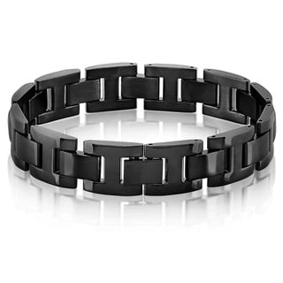 Crucible Men's Black Plated Brushed and Polished Stainless Steel H Link Bracelet - 8.5 inches (15mm Wide)
