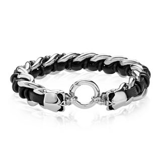 Crucible Men's High Polish Stainless Steel Twin Skull Interwoven Curb Chain Bracelet - 8.5 inches (15mm Wide)