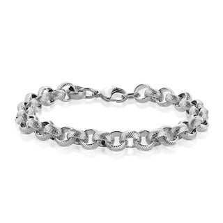 Men's Stainless Steel Textured Rolo Chain Bracelet - 8.5 inches (9mm Wide)