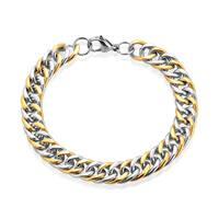 Crucible Men's Two-Tone High Polished Stainless Steel Curb Chain Bracelet - 8.5 inches (10mm Wide)