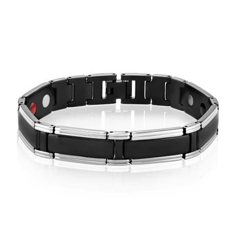 Crucible Black Plated Stainless Steel Link Bracelet (12mm) - 8.5 Inches